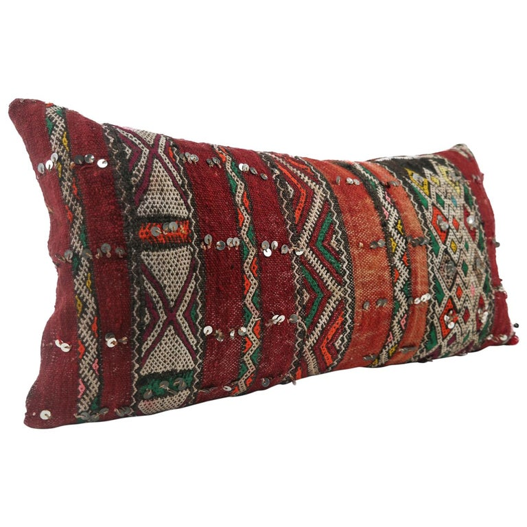 Moroccan Chic Kilim Pillow Extra Large Lumbar Morocco Cushion For Sale