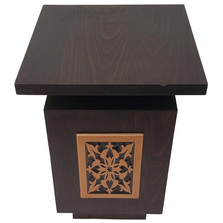 553a505c66437 Moroccan Contemporary Wooden Side Table, Square For Sale at 1stdibs