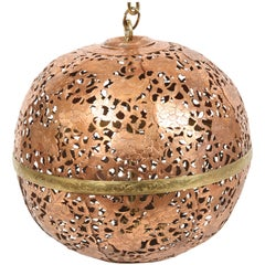 Moroccan Pierced Copper Ceiling Fixture with Brass Accents