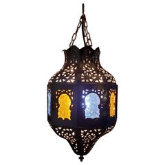 Moroccan Copper Ceiling Lamp or Lantern, Blue / Yellow Glass