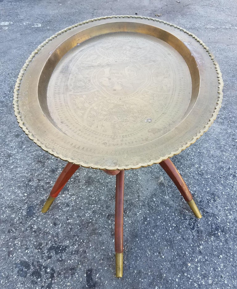 Copper Wooden Coffee Table: Moroccan Copper Coffee Table, Oval With Wooden Folding