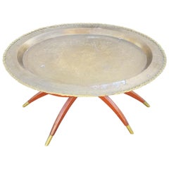 Moroccan Copper Coffee Table, Oval with Wooden Folding Base