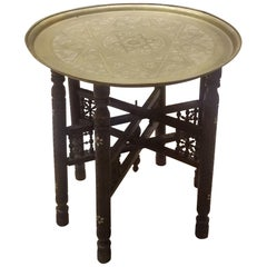 Moroccan Copper Coffee Table, Round with Wooden Folding Base