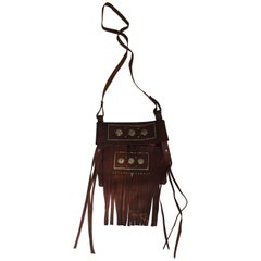Moroccan Crossbody Leather Handcrafted African Tuareg Bag with Fringes