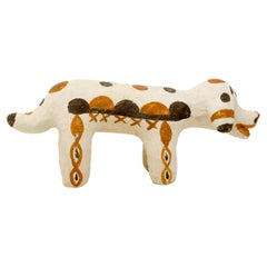 Moroccan Decorative Dog Sculpture Handbuilt and Handpainted by Potter Houda