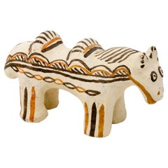 Moroccan Decorative Horse Sculpture Handbuilt and Handpainted by Potter Houda