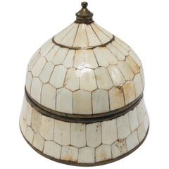 Moroccan Decorative Trinket Lidded Box Inlaid with Bone and Brass