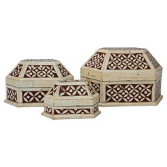 Moroccan Decorative Trinkets Boxes Inlaid with White Bone
