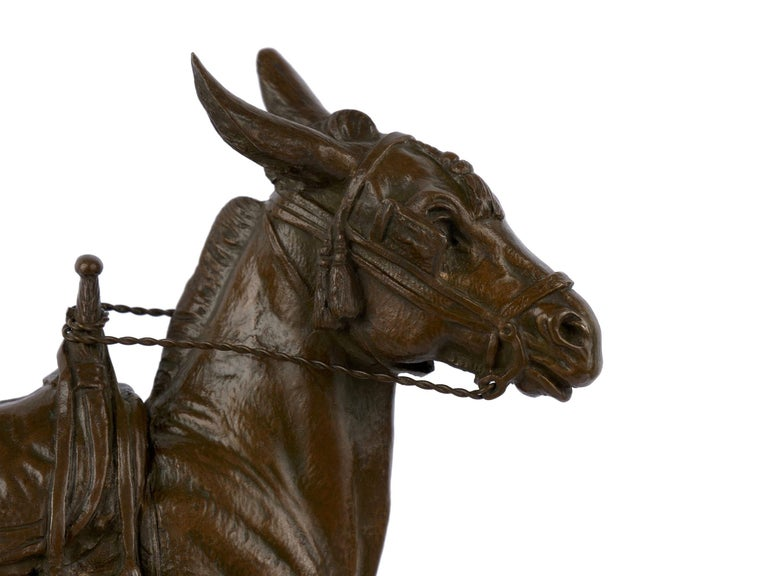 """""""Moroccan Donkey"""" French Bronze Sculpture by Jules Edmond Masson For Sale 8"""