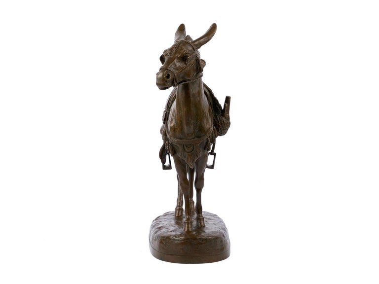 """""""Moroccan Donkey"""" French Bronze Sculpture by Jules Edmond Masson For Sale 1"""