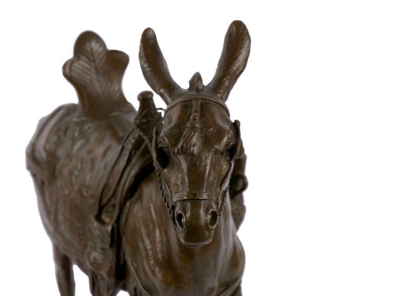 """""""Moroccan Donkey"""" French Bronze Sculpture by Jules Edmond Masson For Sale 3"""
