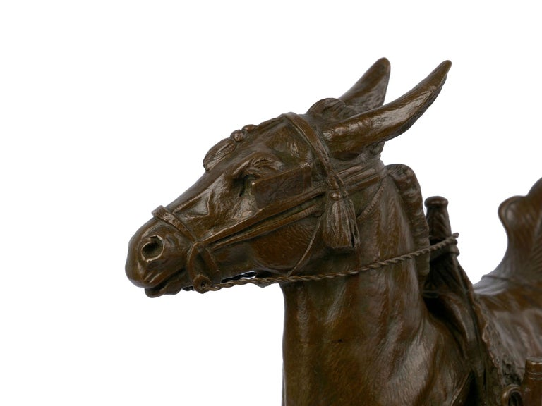 """""""Moroccan Donkey"""" French Bronze Sculpture by Jules Edmond Masson For Sale 5"""