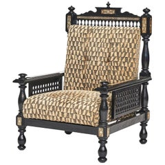 Moroccan Ebonized and Inlaid Armchair, circa 1900