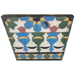 Moroccan Encaustic Cement Tile Border with Moorish Fez Design
