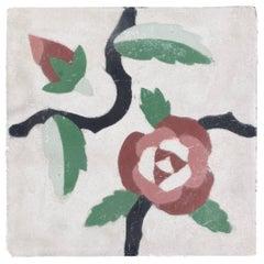 Moroccan Encaustic Cement Tile Sample with Floral Design