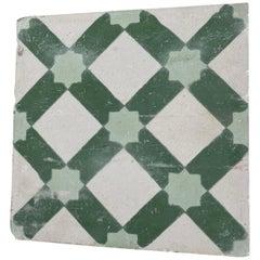 Moroccan Encaustic Cement Tile Sample with Moorish Design
