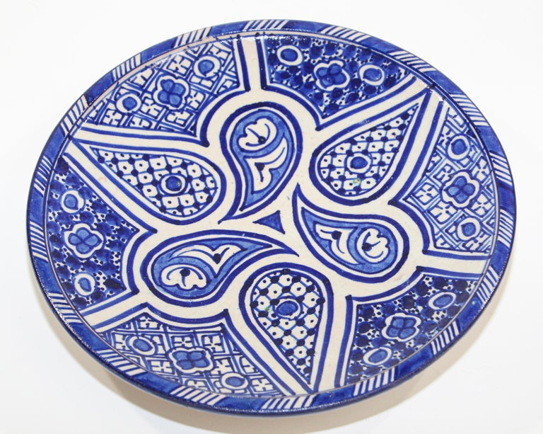 Moroccan Ceramic Plate Blue and White Handcrafted in Fez For Sale 4