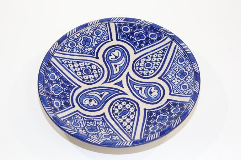 Moorish Moroccan Ceramic Plate Blue and White Handcrafted in Fez For Sale