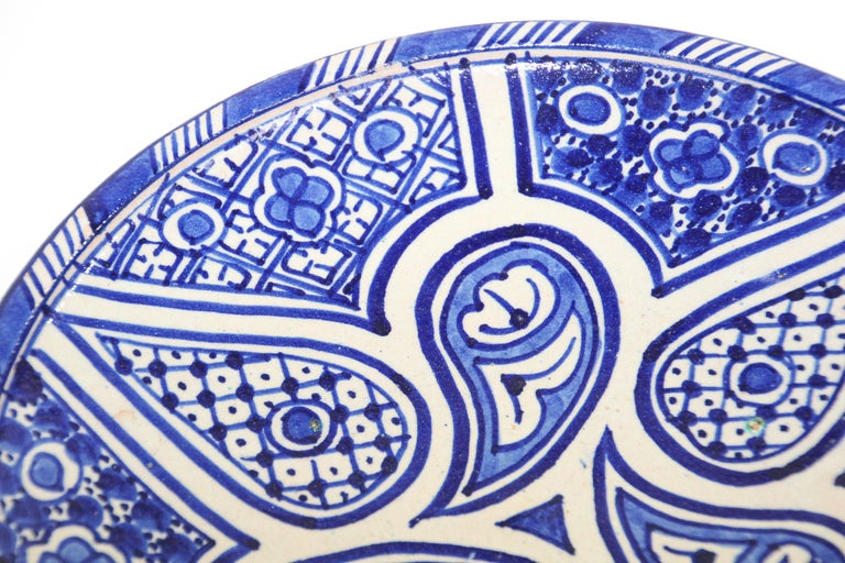 Hand-Crafted Moroccan Ceramic Plate Blue and White Handcrafted in Fez For Sale