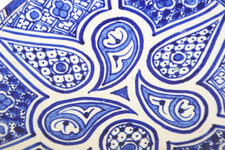 Moroccan Ceramic Plate Blue and White Handcrafted in Fez For Sale 1