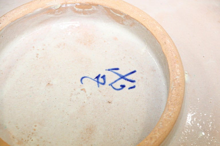 Moroccan Ceramic Plate Blue and White Handcrafted in Fez For Sale 3