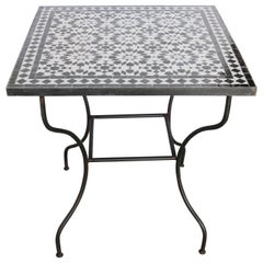 Moroccan Fez Mosaic Table in Black and White Tiles