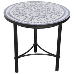 Moroccan Fez Mosaic Blue and White Tiles Side Table