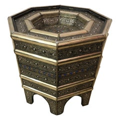 Moroccan Filigree Handcrafted White Brass Center or Cocktail Table