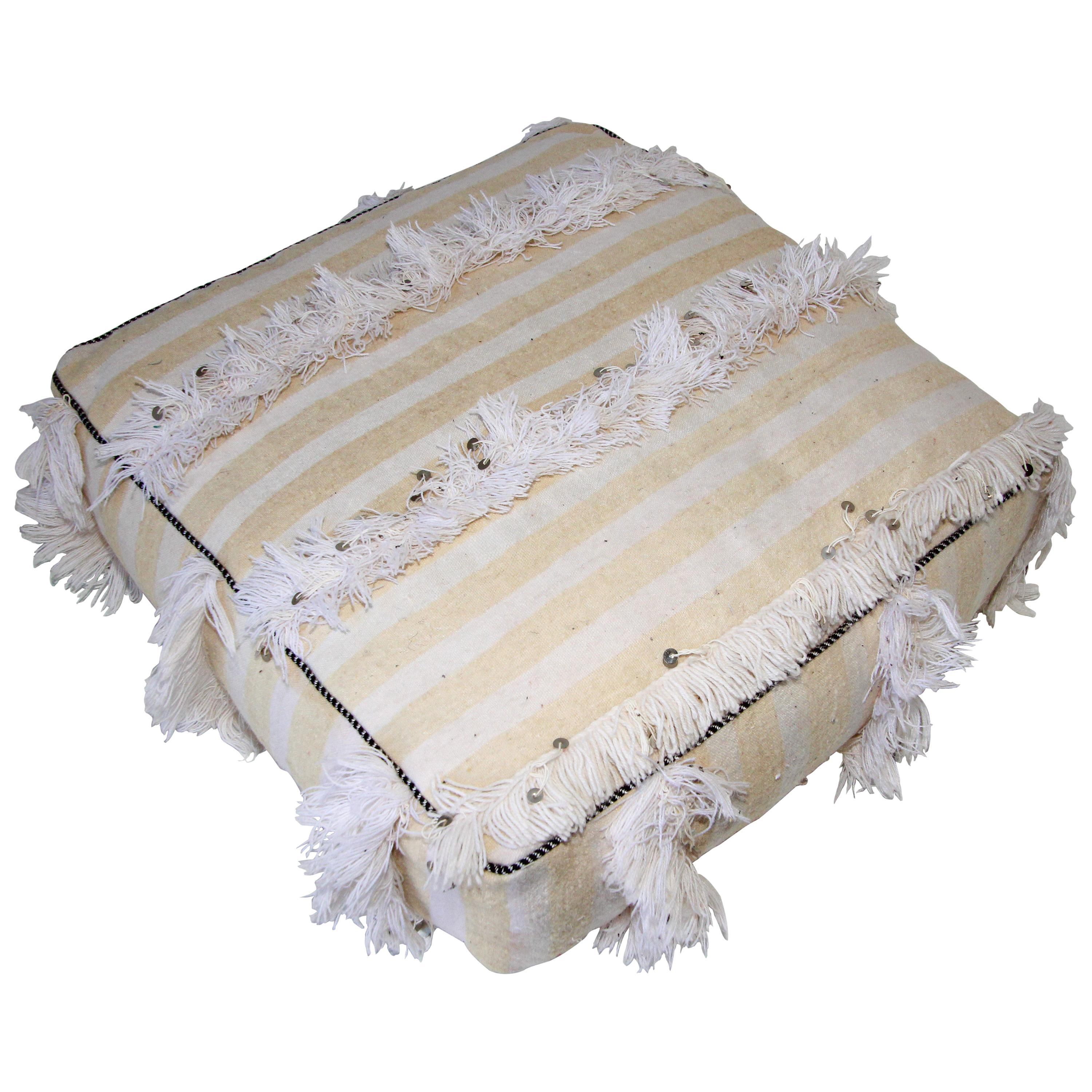 Moroccan Floor Pillow Bohemian Pouf with Silver Sequins and Long Fringes