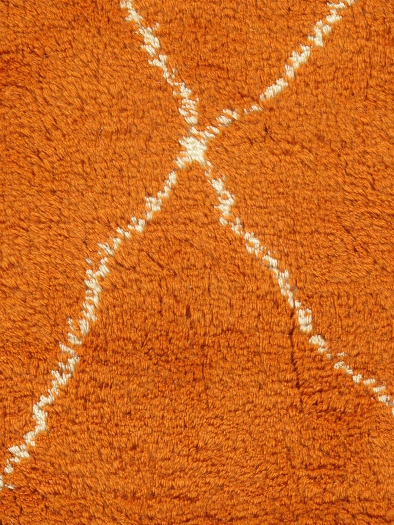 Indian Moroccan Fluffy Collection Orange Rug For Sale