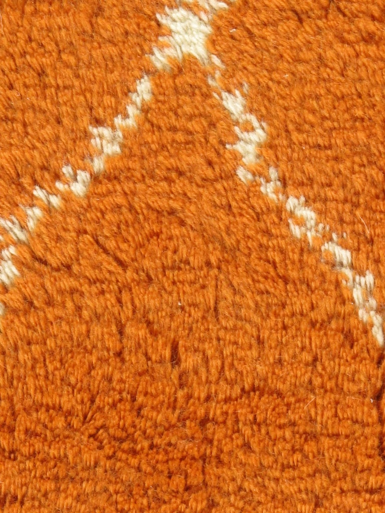 Hand-Woven Moroccan Fluffy Collection Orange Rug For Sale