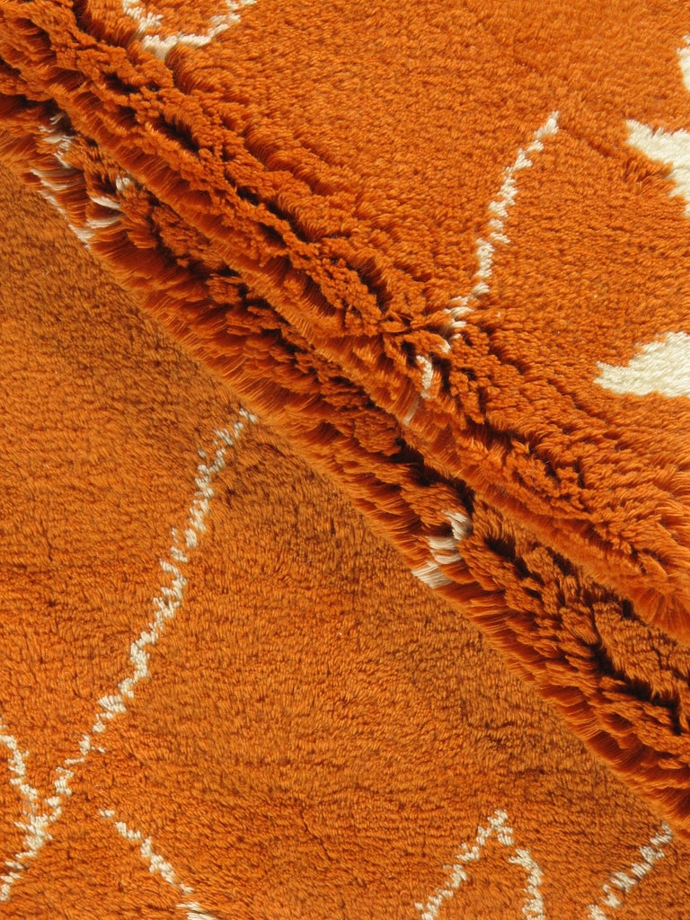 Moroccan Fluffy Collection Orange Rug In New Condition For Sale In New York, NY