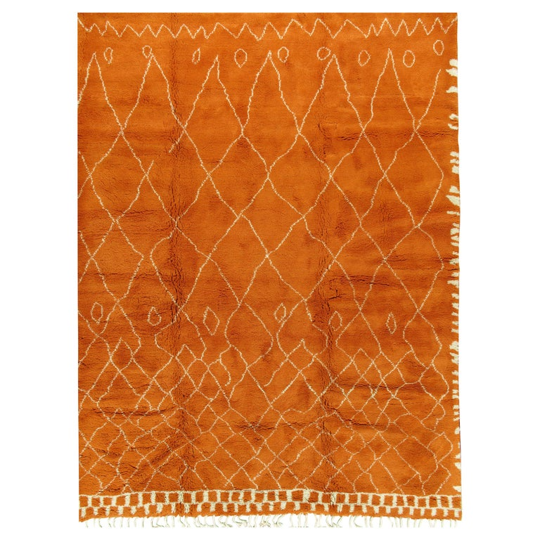 Moroccan Fluffy Collection Orange Rug For Sale