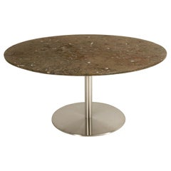 Moroccan Fossil Stone Top and Stainless Steel Base Dining or Kitchen Table