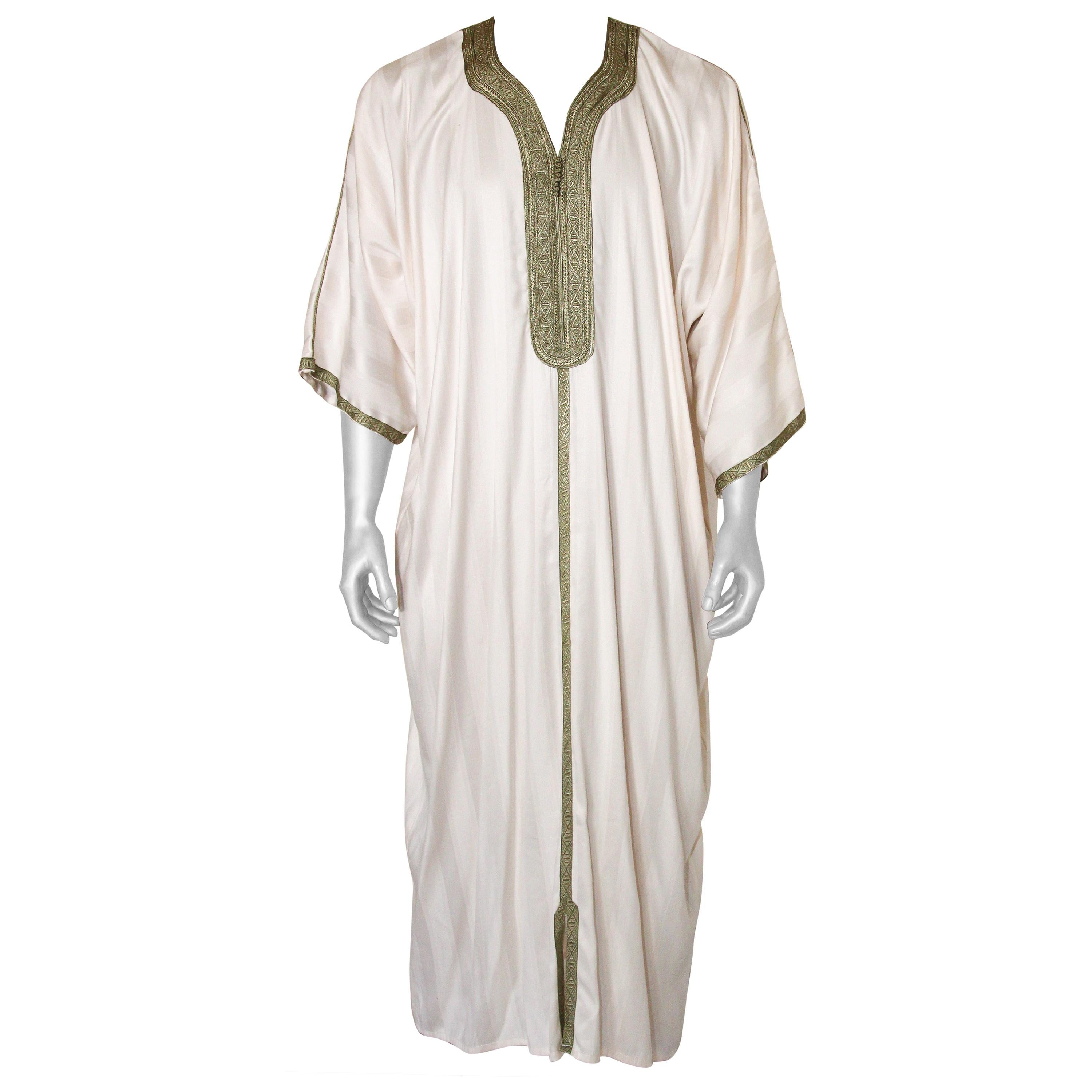 Moroccan Vintage Gentleman Caftan White with Green Trim