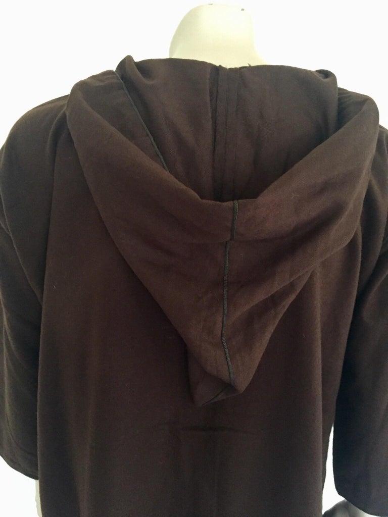 Moroccan Gentleman Hooded Brown Wool Djellaba For Sale 5