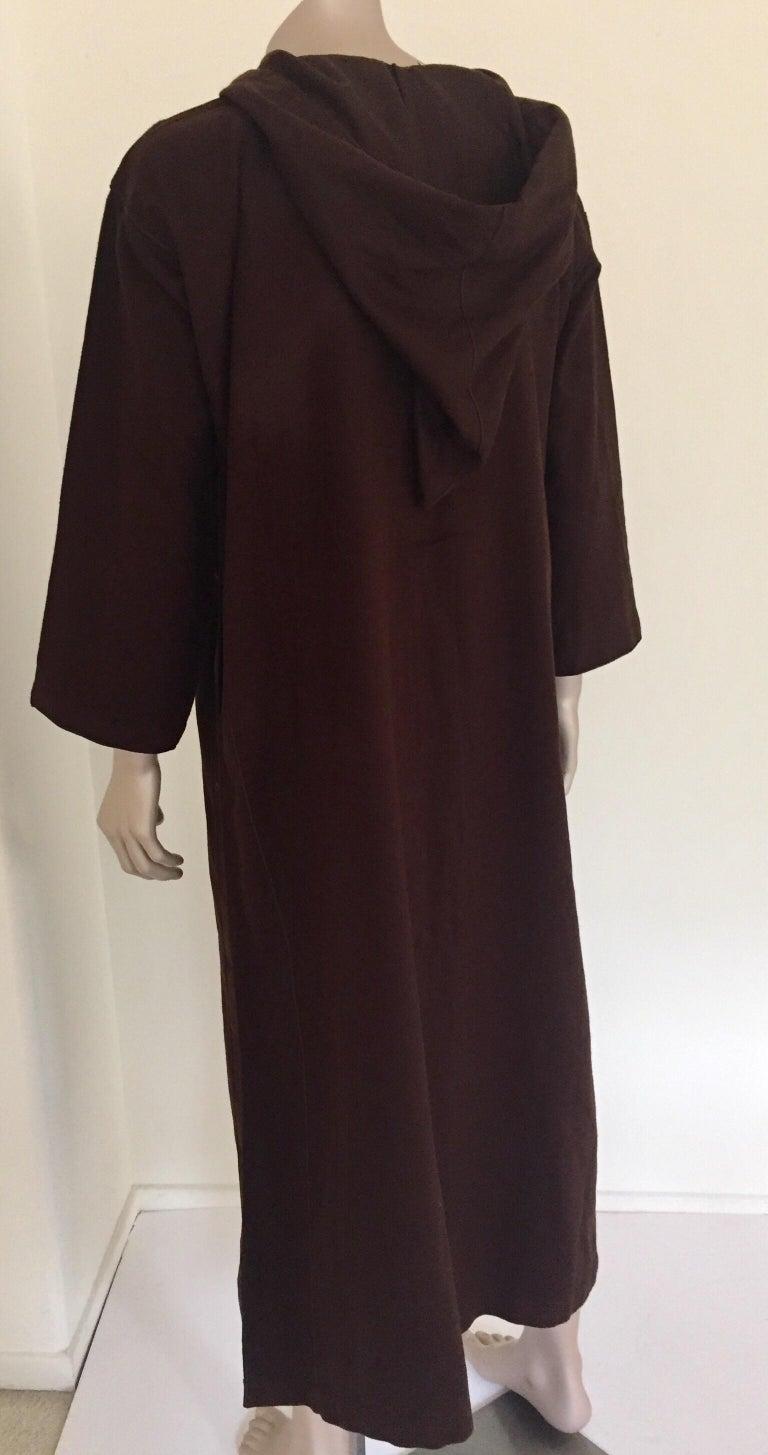Moroccan Gentleman Hooded Brown Wool Djellaba For Sale 8