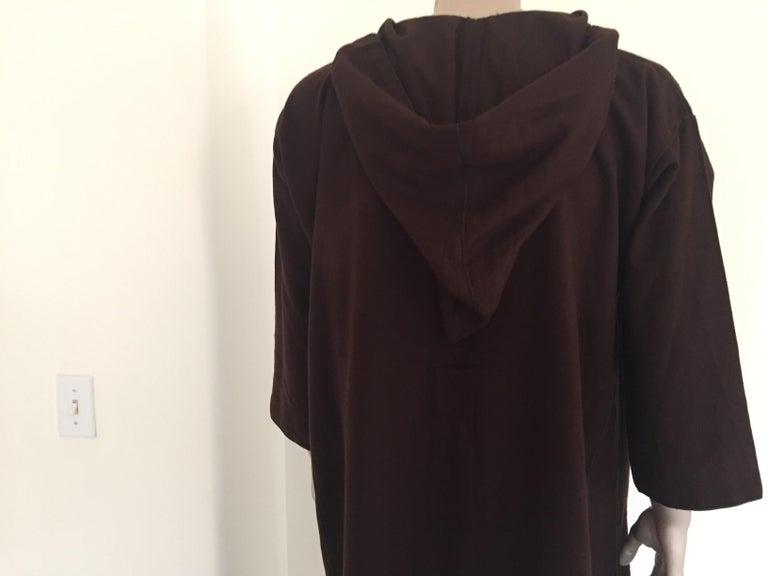 Moroccan Gentleman Hooded Brown Wool Djellaba For Sale 9