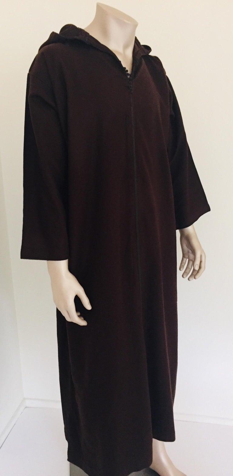 Moorish Moroccan Gentleman Hooded Brown Wool Djellaba For Sale