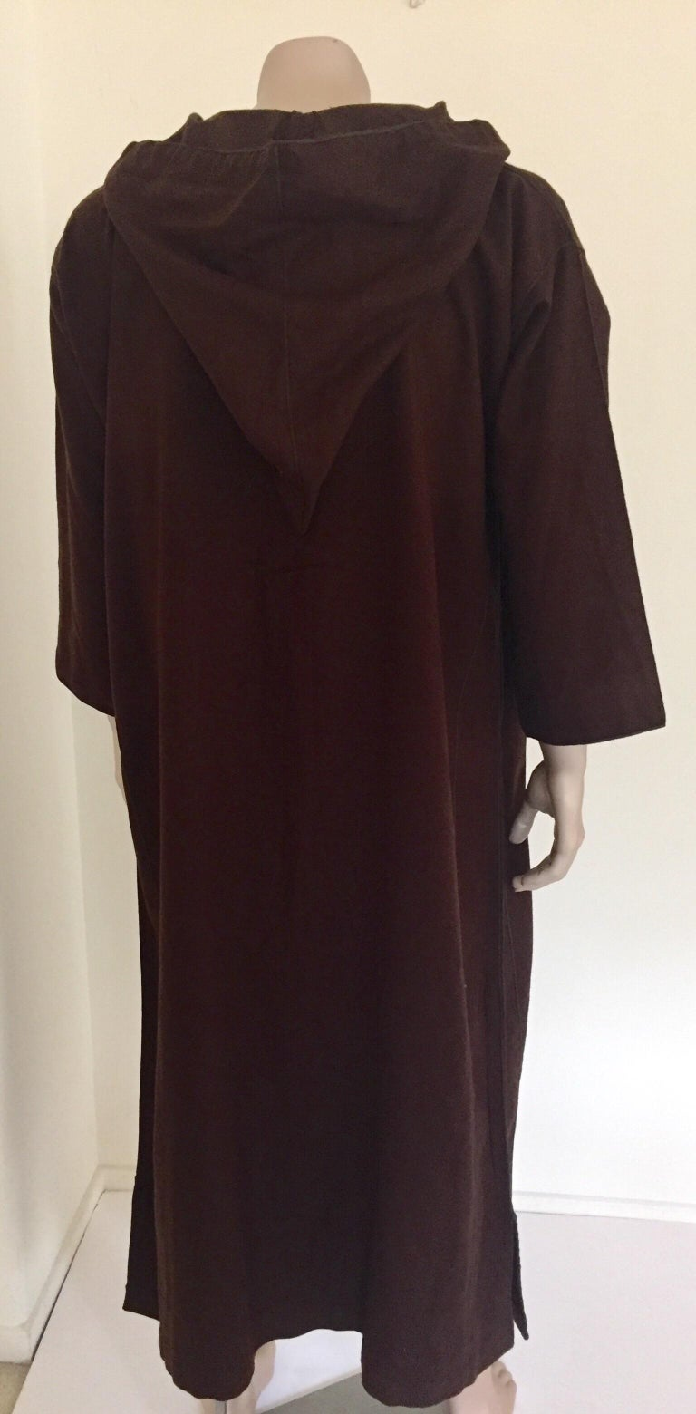 Moroccan Gentleman Hooded Brown Wool Djellaba For Sale 1