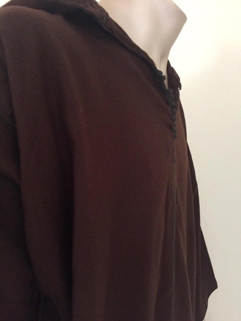 Moroccan Gentleman Hooded Brown Wool Djellaba For Sale 2