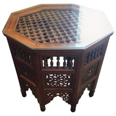 Moroccan Glass Top Carved Wood End or Side Table