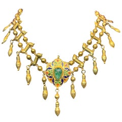 Moroccan Gold Emerald Necklace