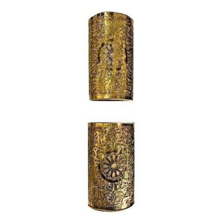 A Pair of Moroccan Gold Toned Brass  Wall Lanterns or Sconces
