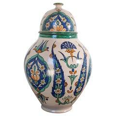 Moroccan Granada Ceramic Lidded Urn from Fez with Moorish Design