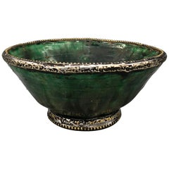 Moroccan Green Pottery Bowl w Brass & Silver Rim Handmade in Tamegroute Morocco