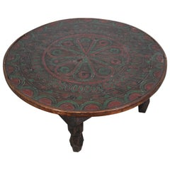 Moroccan Hand Carved Tribal Ethnic Low Coffee Table