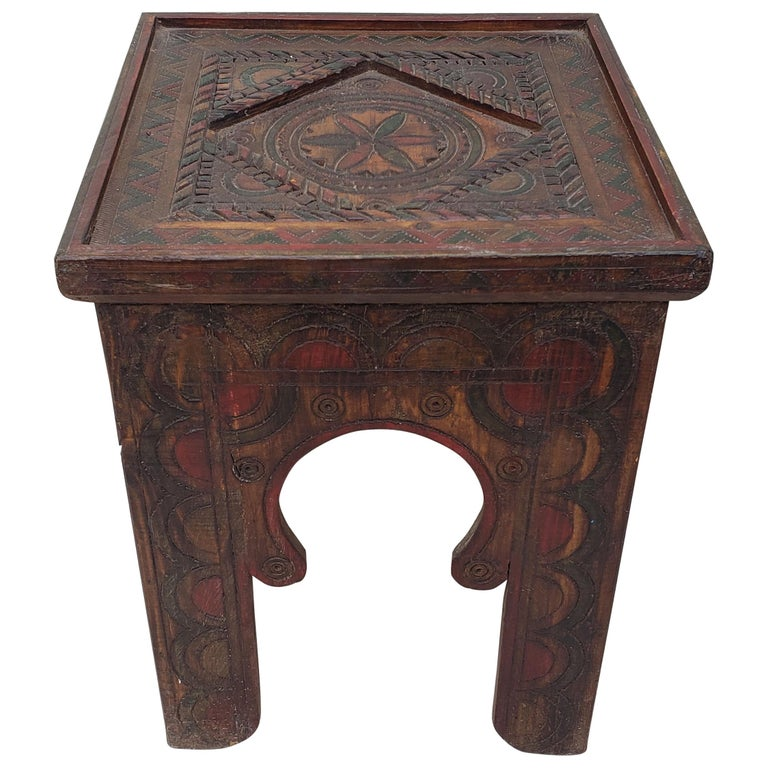 Moroccan hand carved wooden side table square for sale at 1stdibs