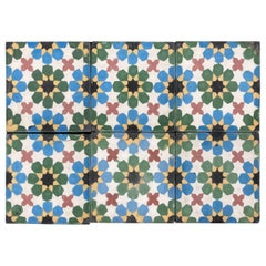Moroccan Hand-Crafted Encaustic Cement Tiles with Traditional Fez Moorish Design