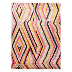 Moroccan Hand Knotted Area Rug in Pink Wool
